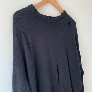 Urban Outfitters Distressed Black Knit Sweater